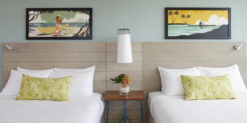 クイーンカピオラニホテル オーシャンビュールーム クイーンベッド2台